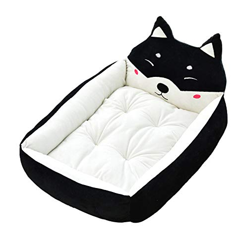 BOOB Cute Pet Winter Dog Bed Sofa Soft Warm Cat Bed House Cartoon Small Dog Bed Cushion Pet Sofa Bed for Dog Chihuahua Teddy Black Dog L (Cabana Dog Crate Cover)