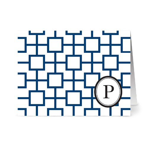 Modern Geo Tile 'P' Navy Monogram - 24 Cards for $7.49 - Blank Cards w/ Grey Envelopes Included
