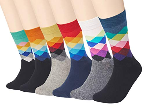 Men's Dress Socks Funky Colorful Argyle Printed Novelty Cotton Crew Socks Cool Fashion Funny 6 Pairs