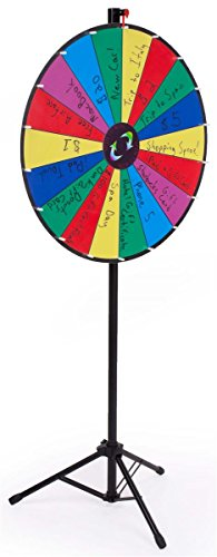 Displays2go Prize Wheel with Height-Adjustable Floor Stand/18 Slot Design/30-Inch Write-On Surface for Wet or Dry-Erase Markers (Carrying Bags Included)
