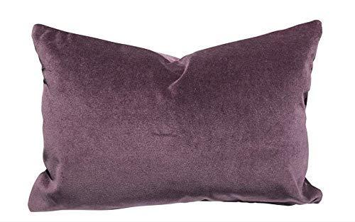 purple velvet custom feather down accent pillow / 16 x 23 / custom made (Pillow Powder Purple)
