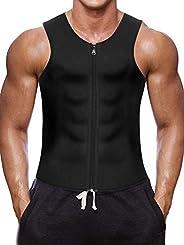 Nebility Men Waist Trainer Vest for Weightloss Hot Neoprene Corset Body Shaper Zipper Sauna Tank Top Workout S