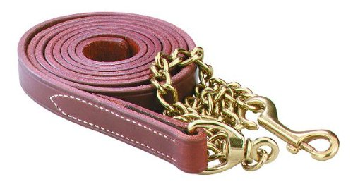 Chestnut Perri's Leather Lead with 30-Inch Solid Brass Chain, 7-Feet 30-Inch