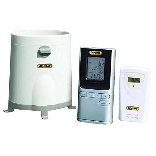 General Tools RGR150, Wireless Rain Gage with Remote Temperature Sensor, 4 pc