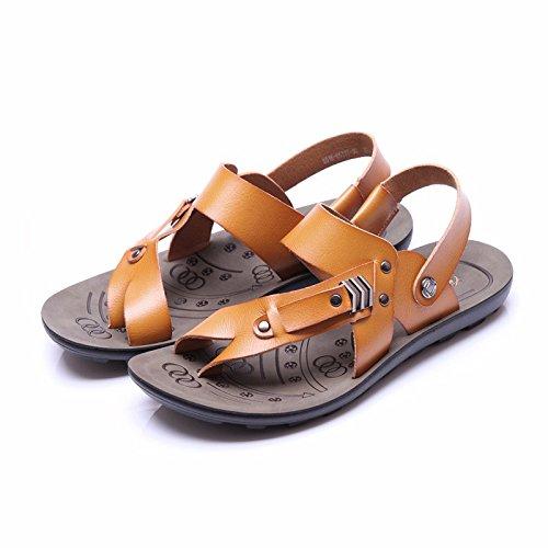 Sommer Atmungsaktiv Männer Flip Flops Echtleder Sandalen Freizeit Strand Schuh Sandalen ,Gelb,US=7,UK=6.5,EU=40,CN=40
