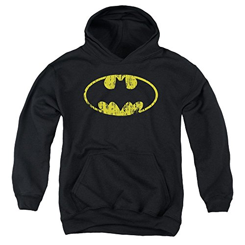 Distressed Kids Sweatshirt - Batman - Youth Classic Logo Distressed Pullover Hoodie, Small, Black