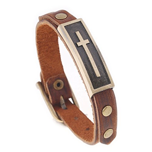 MORE FUN Vintage Style Metal Buckle Clasp Handmade Brown Leather Bracelet (Leather And Metal Bracelet)