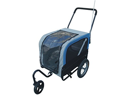 Dog Bike Trailer and Stroller with Swivel Wheel Pet Cat Easy sturdy Carrier - S (Blue black) by ISHOWStore