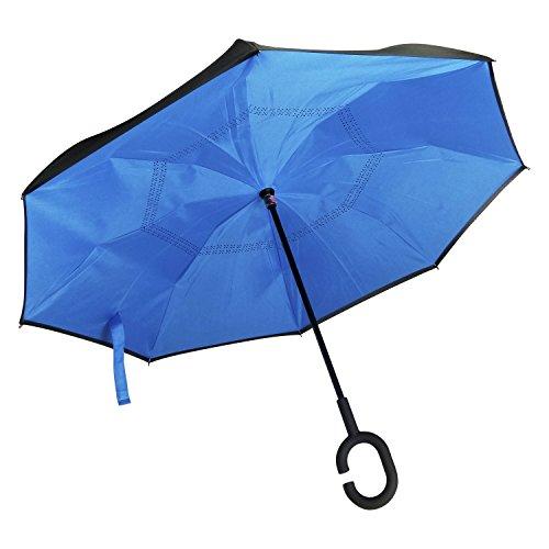 Reverse Folding Inverted Umbrella Double Layer Wind Proof UV Proof Kazbrella (Aqua)