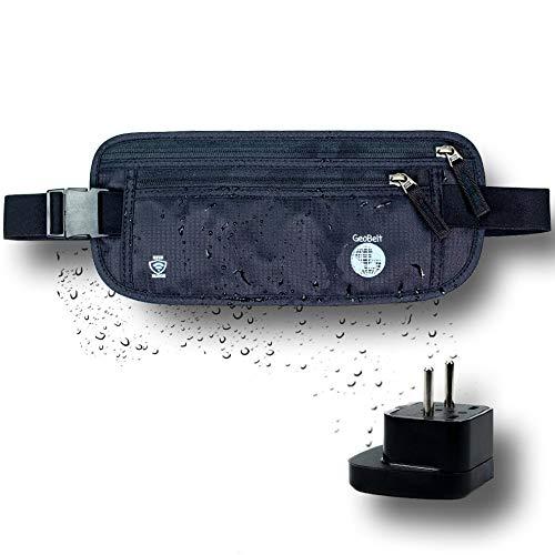 GeoBelt | Best Travel Money Belt for Men and Women - Slim, Hidden, Discrete Waist Pack with Secure RFID Protection - Bonus EU Travel Adapter