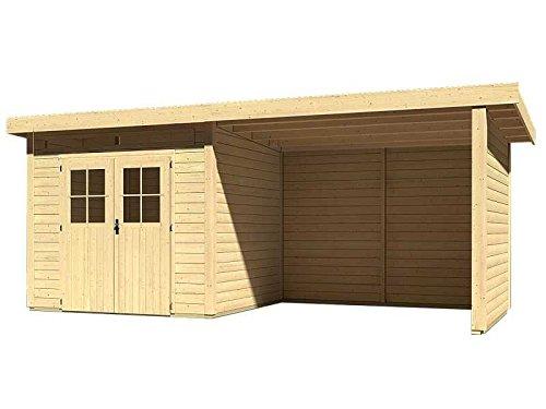 Karibu Woodfeeling Gartenhaus Kulpin 3 mit Anbaudach 3,00 Meter, Seiten- und Rückwand