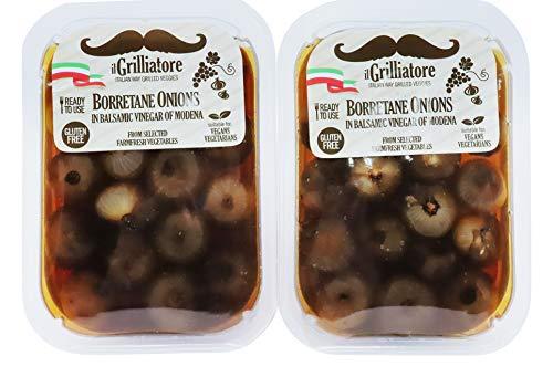 ilGrilliatore- Authentic Gluten Free Italian Borretane Onions in Balsamic Vinegar of Modena 2 Pack