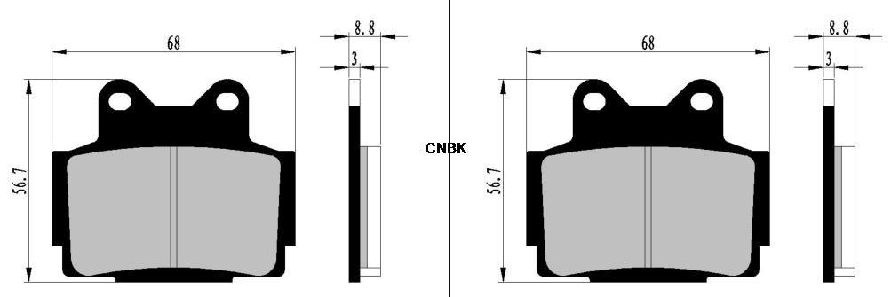 CNBK Semi-Metallic Brake Pads Set fit YAMAHA Street Bike XJ600 XJ 600 cc 600cc Diversion 4BRA 4BRB F944 945 91 92 93 94 95 96 97 1991 1992 1993 1994 1995 1996 1997 4 Pads