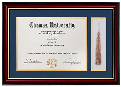 (Flagship Diploma Frame with Tassel Shadow Box Real Wood & Glass Golden Rim 11x16 Frame for 8.5x11 Certificate and Document (Double Mat, Navy Blue Mat with Golden)