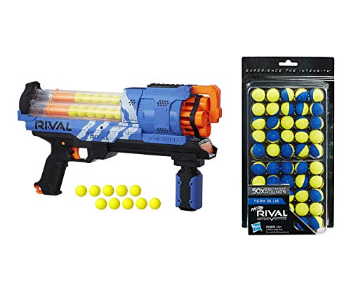 NERF Rival Artemis XVII-3000 Blue Blaster with 30 Rival Rounds Bundle Rival 50-Round Refill, Yellow/Blue
