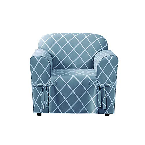 Surefit Lattice Box Cushion Chair, Pacific Blue