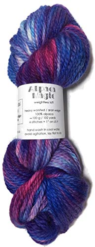 (Hand Dyed Baby Alpaca Yarn, Hand Painted: Sailors Delight, Heavy Worsted Weight, 100 Grams, 102 Yards, 100% Baby Alpaca)