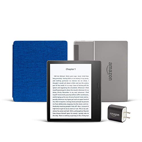 Kindle Oasis Essentials Bundle including Kindle Oasis (Graphite, Ad-Supported), Amazon Fabric Cover, and Power Adapter