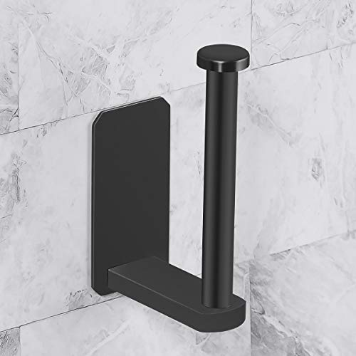 Marble Brushed Steel Wall - CCSTORAGE Toilet Paper Holder Self Adhesive Kitchen Washroom Adhesive Toilet Roll Holder No Drilling for Bathroom Stick on Wall Stainless Steel Brushed - Black