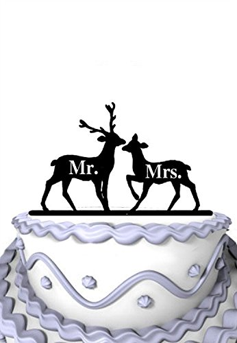 Price comparison product image Meijiafei Rustic 2 Deers with Mr and Mrs Wedding Anniversary Cake Topper