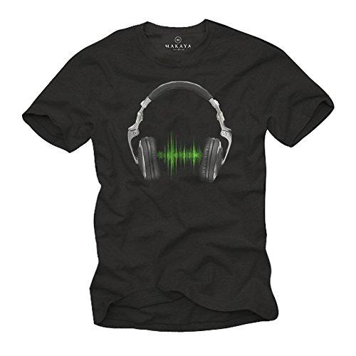 Playera Musica Hip Hop - Auriculares Hombre Negra XXXL