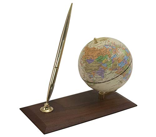 Premium Desktop Globe with Pen Holder/Stand Wood Base Storage