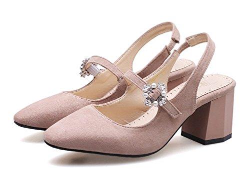 Spitze Sexy Slingback Perlen Zehen Damen Aisun Geschlossen Blumen Rosa Blockabsatz Sandalette qZfEAx