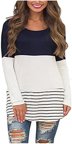 36cc013a107 SRYSHKR Womens Back Lace Color Block Tunic Tops Long Sleeve T-Shirts  Blouses With Striped