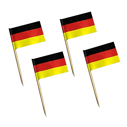 WSERE 100 Pieces German Toothpick Flags Flag Stick for Food Appetizers Cheeseplate Cupcake Cake Topper Cocktail Decoration Flag - Picks German Flag