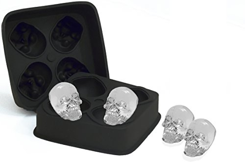 Skull Ice Cube ,No BPA Silicone Mold, Crystal Ice Marker Tray, Large 3D Skull Ice Shapes for Cocktails and Whiskey]()