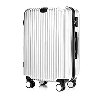 GLJJQMY Trolley Striped Luggage ABS PC Universal Wheel Luggage Luggage Trolley case (Color : Silver, Size : 24 inches)
