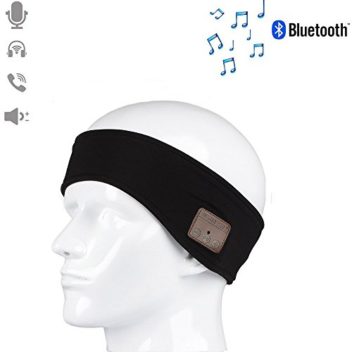 HONGYU Lightweight Sport Bluetooth Headband with Wireless Headphone Stereo Music with Speakers Mic Hands Free for Gym Fitness Exercise Outdoor Sport,Compatible with Iphone Android Cell Phones (Black)