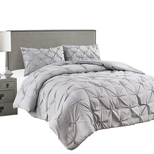 Jackson Hole Home 3 PC Elegant Original Pinch Pleat Puckering Comforter Set, Light Gray, King (Tuck Bedding Pin)