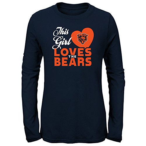 Bears Youth Apparel - NFL by Outerstuff NFL Chicago Bears Youth Girls This Girl Loves Long Sleeve Fashion Fit Tee Navy, Youth Large(14)