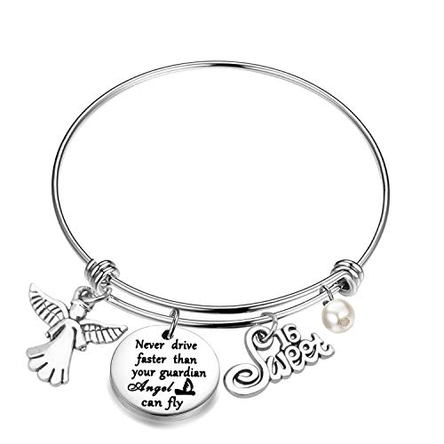 bobauna Never Drive Faster Than Your Guardian Angel Can Fly Angel Driver Bracelet Sweet 16 Jewelry Driving License Gift for New Driver (Drive Guardian Bracelet)
