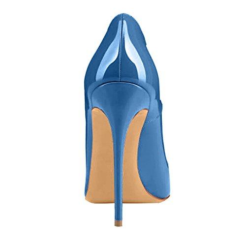 Zapatos Tacón 12CM Tacón De Mujer Aguja Cahen Ponerse Azul Calaier E de Sintético wqE8x