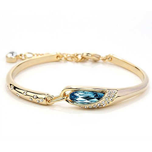 Winter's Secret Gold Plated Beauty Diamond Accented Blue Crystal Studded Dangle Girl Bangle Bracelet (Tomtom Mounted)