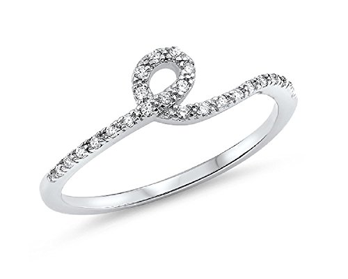 Cubic Zirconia Single Knot Style Ring 925 Sterling Silver Size (Single Knot Ring)