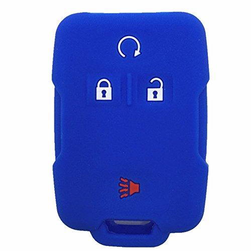 Ezzy Auto Blue Silicone Rubber Key Fob Case Key Cover Keyless Remote Jacket Skin Protector fit for Chevrolet Silverado Colorado GMC Sierra Yukon Cadillac