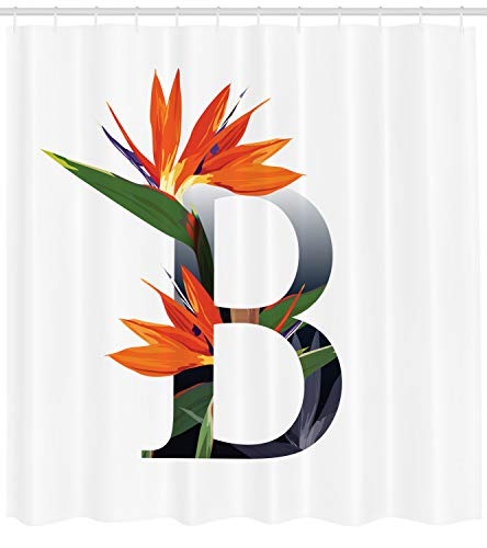 Ambesonne Letter B Shower Curtain, Letter B Bird Paradise Flower Alphabet Character Font Design Print, Fabric Bathroom Decor Set Hooks, 105 Inches Extra Wide, Orange Green Grey