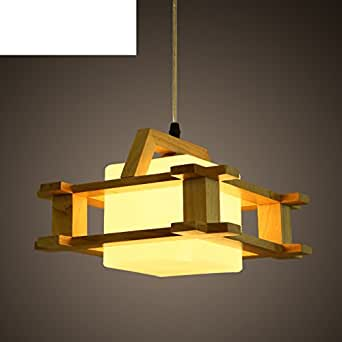 Led Modern minimalist creative single head lamp Wood chandelier-B