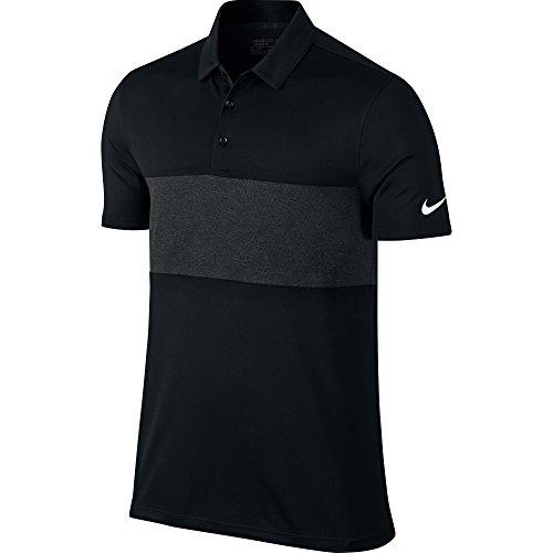 f938a95e7 Nike Mens Breathe Color Block Short Sleeve Polo Shirt (S) (Black/Black