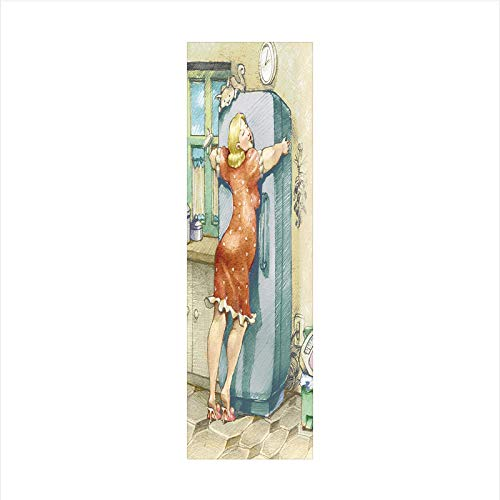 Decorative Window Film,No Glue Frosted Privacy Film,Stained Glass Door Film,A Plump Woman Embracing the Fridge with Passion Stress Eating Diet Calories Theme,for Home & Office,23.6In. by 59In Multicol