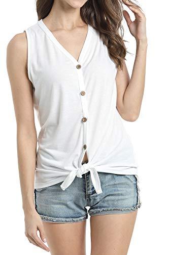 Women Tank Blouse T-Shirt Henley Tank Top Cotton Blouses Plus Size White XXL