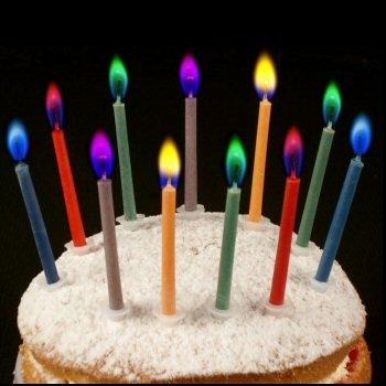 Lote de 5 velas de cumpleaños con llamas de colores: Amazon ...