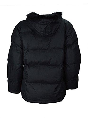 Chaqueta ripstop acolchada de poliéster y pluma con capucha para mujer Black