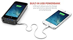 PowerBear iPhone 5SE / 5S / 5C / 5 Extended Rechargeable Battery Case [4000mah] Built in USB Power Bank Capacity (Up to 2.5X Extra Battery) - Black [24 Month Warranty and Screen Protector Included]