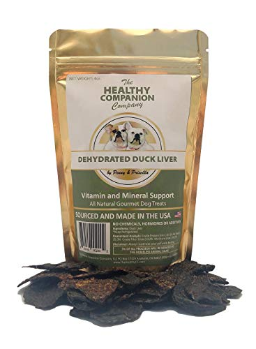 Dehydrated Duck Liver treats-for Dogs and Cats-Grain Free Dog liver treat and Cat liver Treat- All Natural-Gourmet training treat-Sourced and Made in the USA- by The Healthy Companion Company