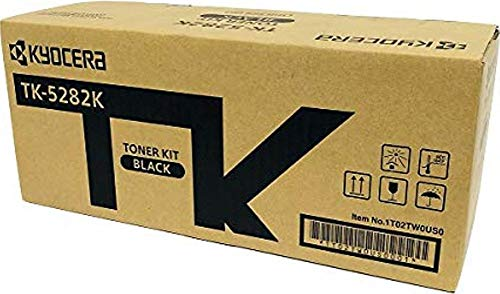 Kyocera 1T02TW0US0 Model TK-5282K Black Toner Kit For use with Kyocera ECOSYS M6235cidn, M6635cidn and P6235cdn A4 Multifunctional Printers; Up to 13000 Pages Yield at 5% Average Coverage