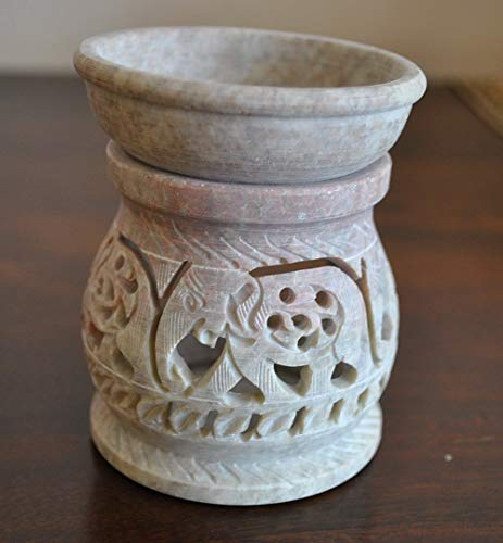 Hand Carved 3' Oil Diffuser Made of Soapstone with Tea Light Holder by StarZebra - Aromatherapy